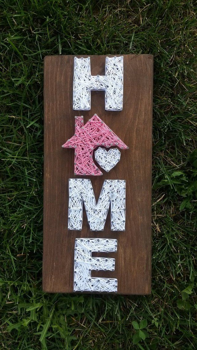 Small Home String Art, Home is where the heart is, home decor, home sign, custom decor