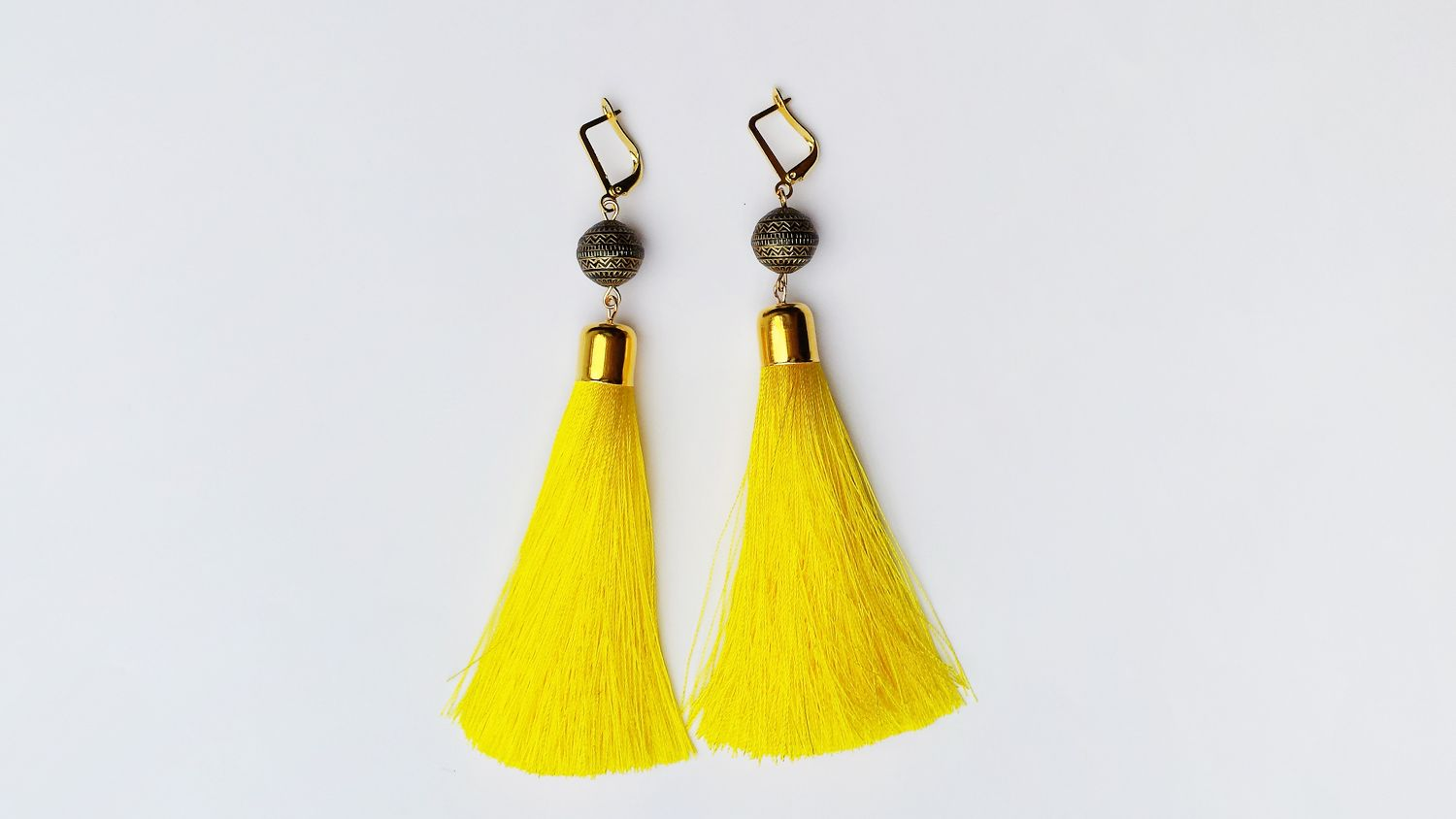 Long Tassel Earrings in Yellow Color Party Statement Earrings Bohemian Jewelry Wodden Beads