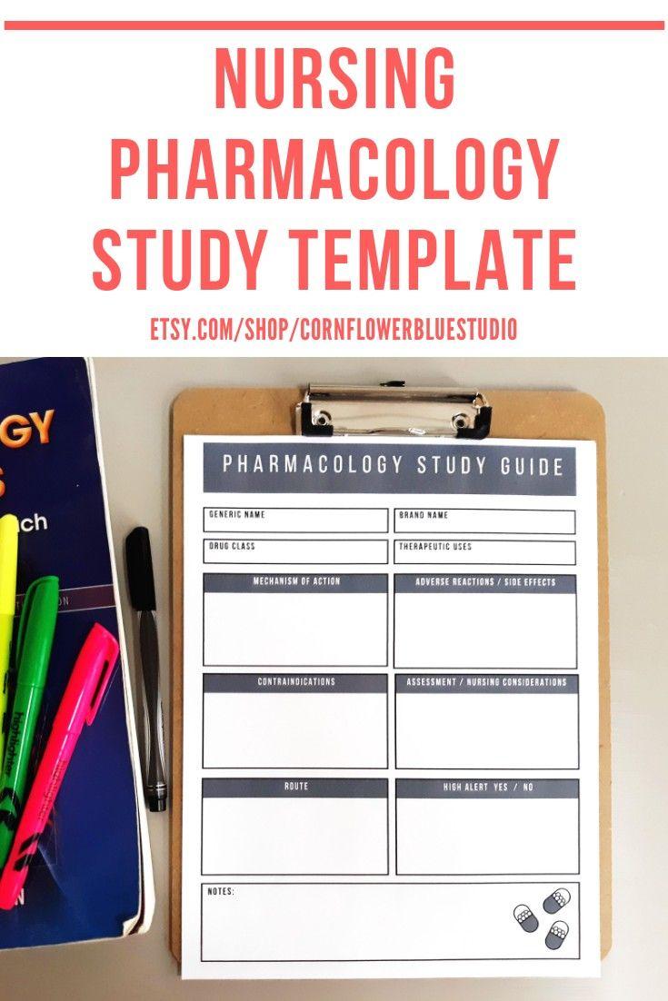 Nursing School Pharmacology Study Template Nursing Student #nursingstudents
