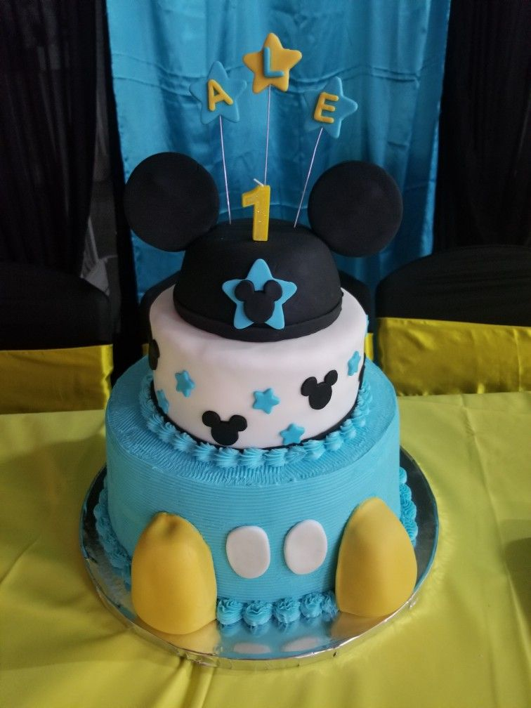 Blue And Black Mickey Mouse Birthday Cake For 1 Year Old With