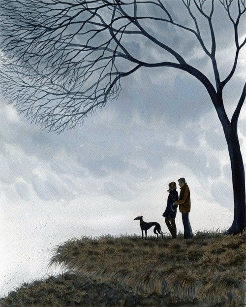 PRINT 6812 DIANNE HEAP GREYHOUND WHIPPET LURCHER DOG PAINTING DOGS TREES MAN