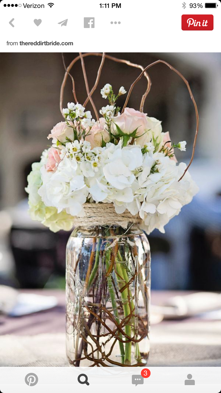 Pink White Centerpieces Mason Jar Wedding Flowers Wedding Centerpieces Flower Arrangements