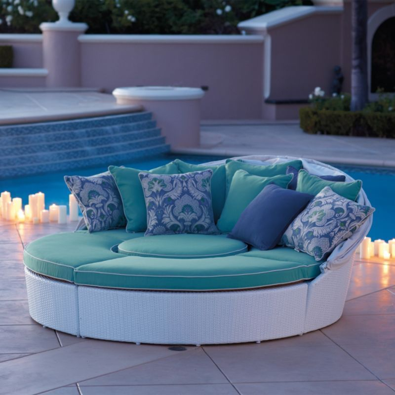 White Baleares Daybed - Frontgate | Outdoor furniture ... on Living Spaces Outdoor Daybed id=43769