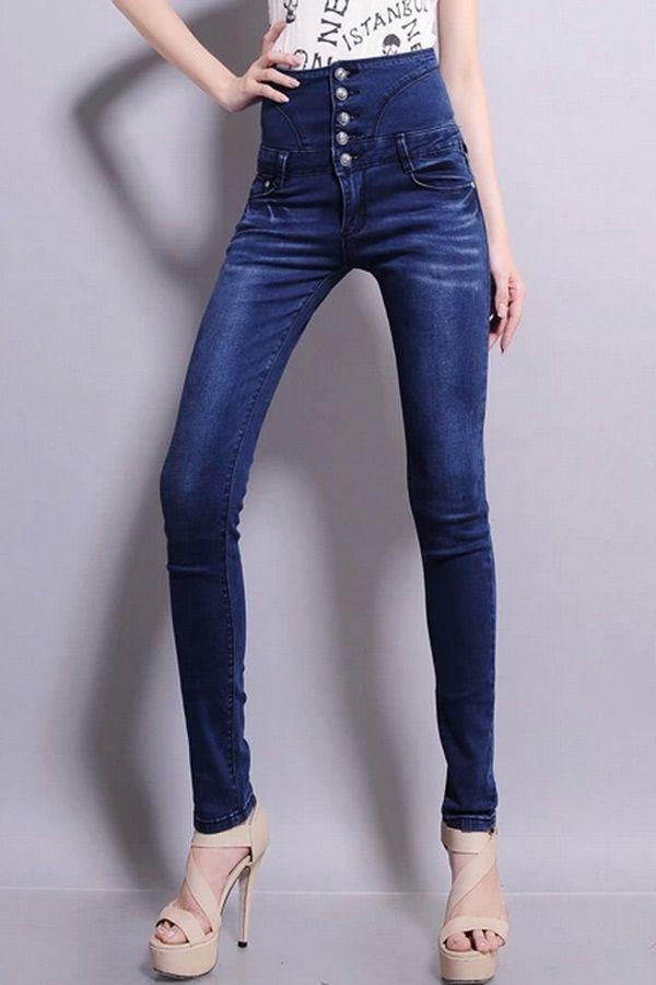 High Waisted Buttoned Blue Jeans - OASAP.com