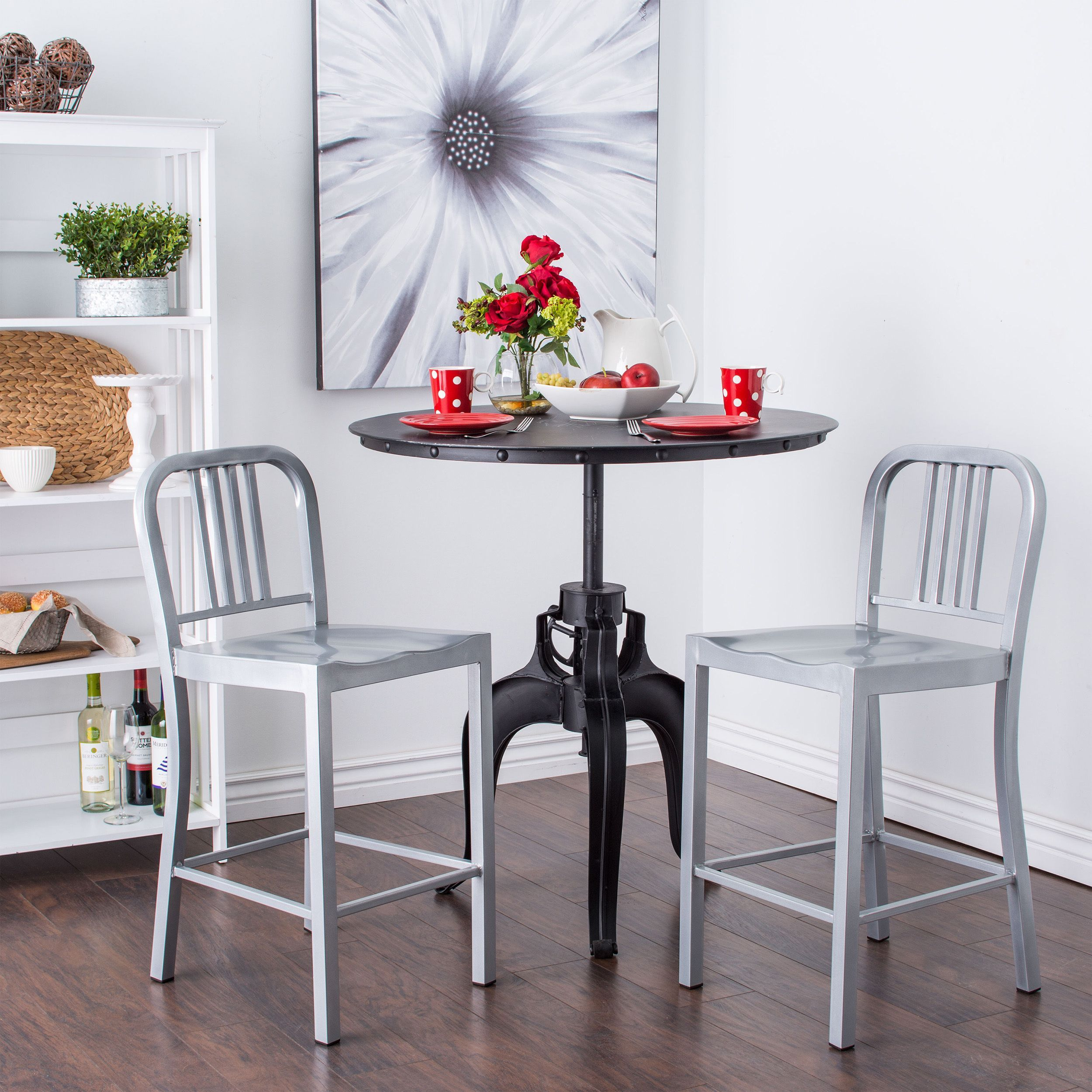 Contemporary Silver Metal Counter Stools Set Of 2