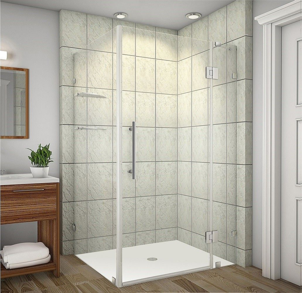 """Avalux GS 42"""" x 36"""" x 72"""" Completely Frameless Hinged Shower Enclosure with Glass Shelves"""