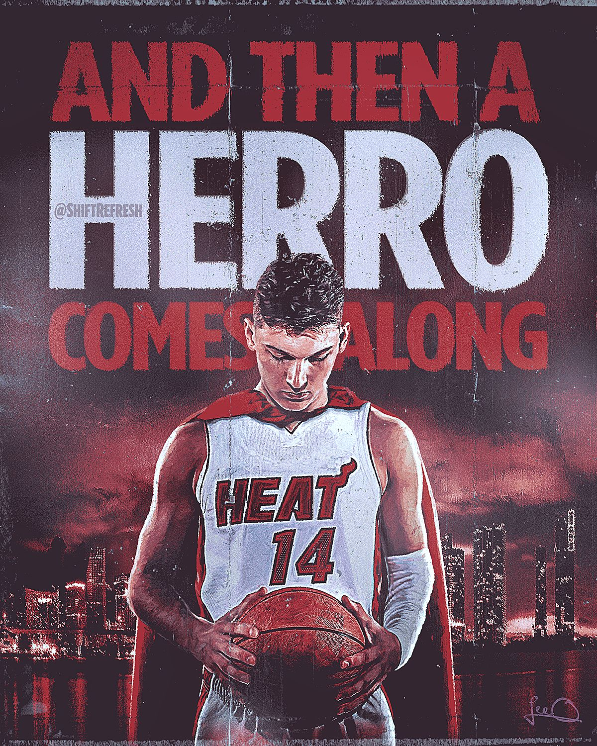 Tyler Herro Superhero Poster In 2020 Miami Heat Nba Art Heat