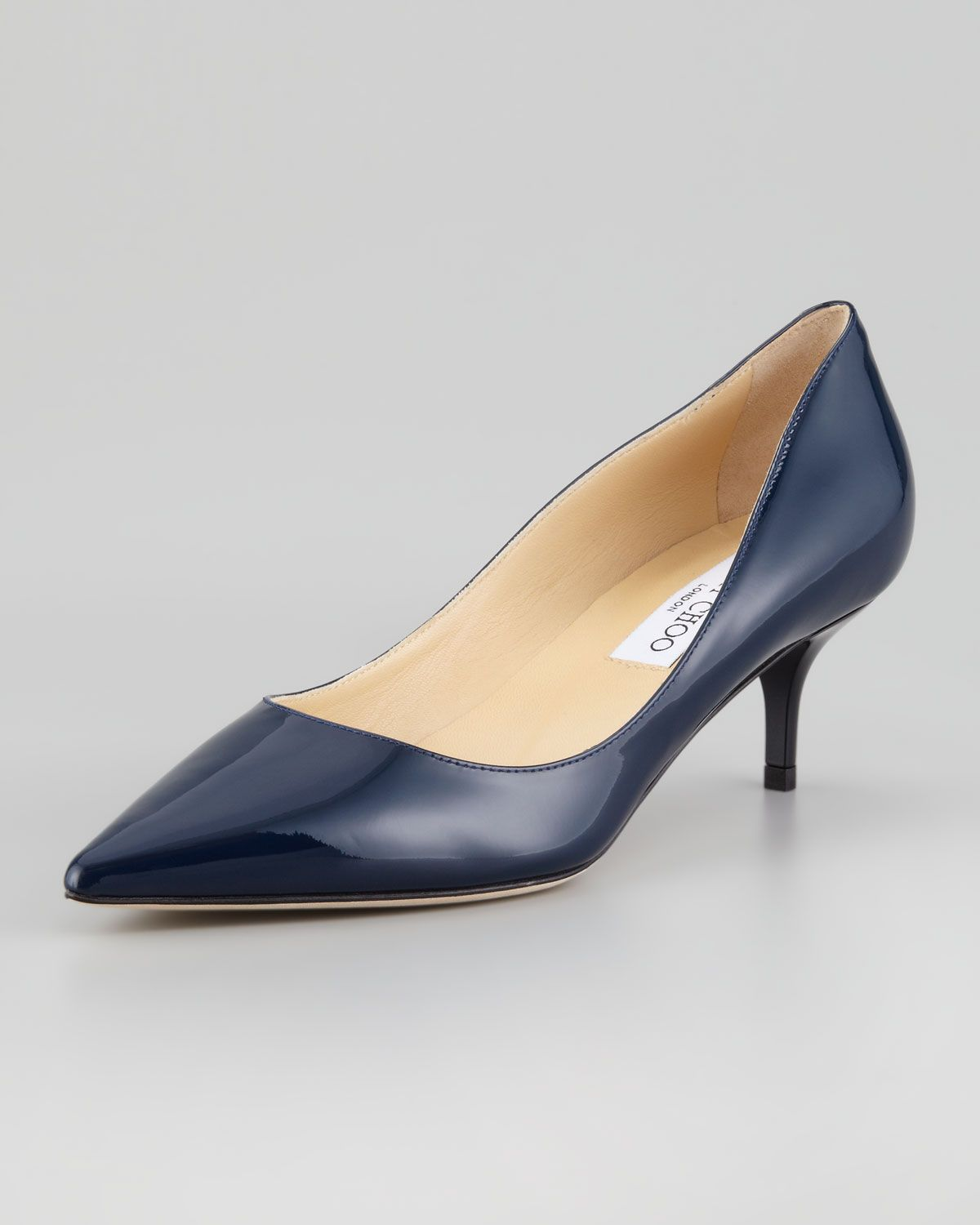 Aza Low-Heel Patent Pump, Navy by Jimmy Choo at Neiman Marcus.