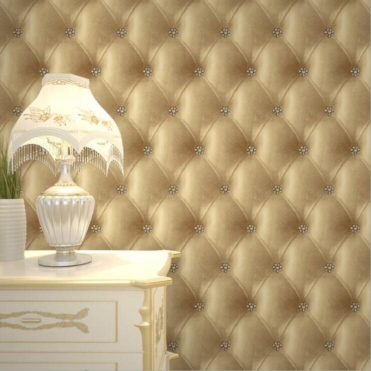 Moderne 3D Kunstleder Wirkung Tapetenbahn/Sofa TV Hintergrund Wand  Wohnkultur Tapeten Wasserdichte Tapete Für Schlafzimmer