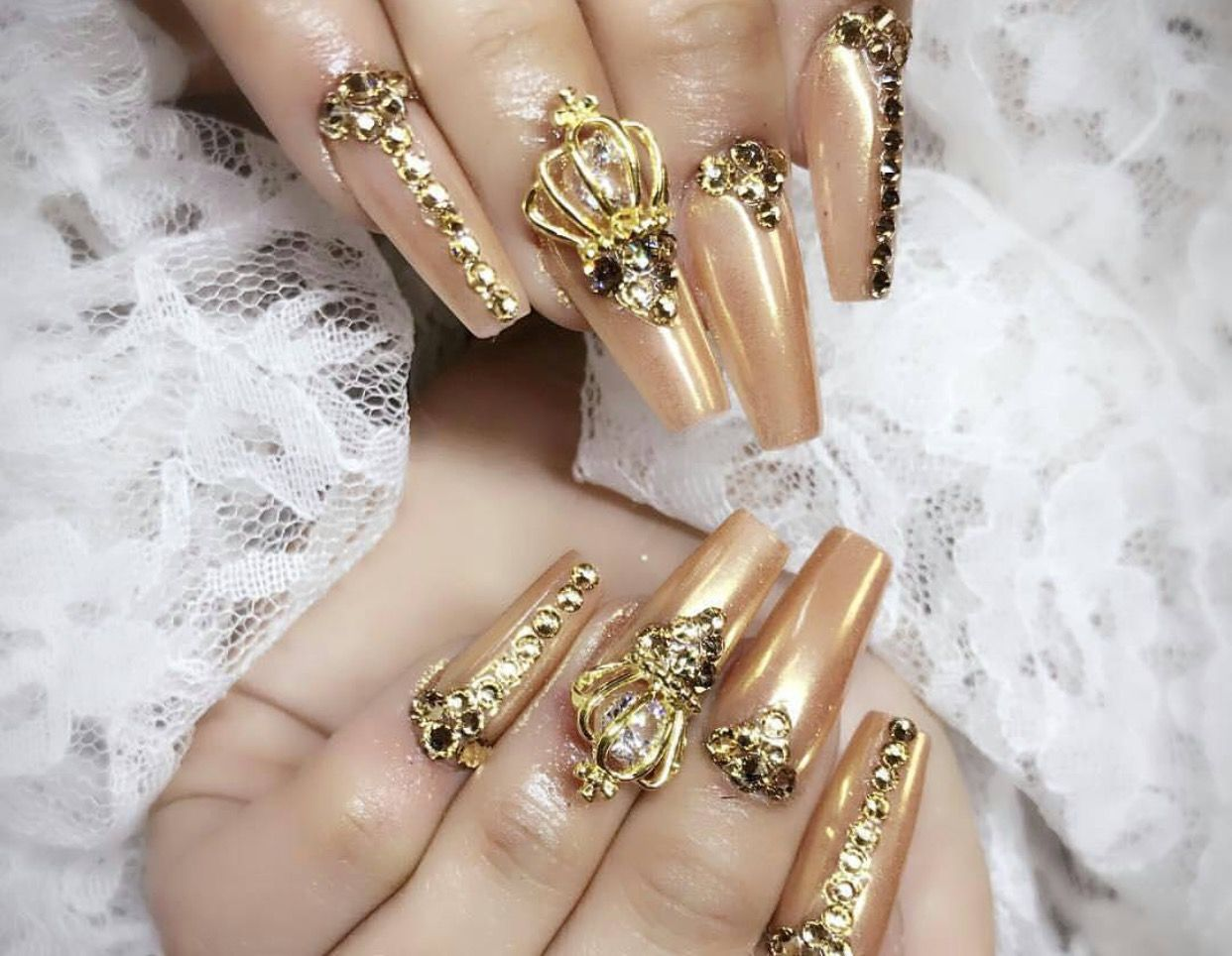 Long gold 3D rhinestone crown coffin nails | Rhinestones on Nails ...