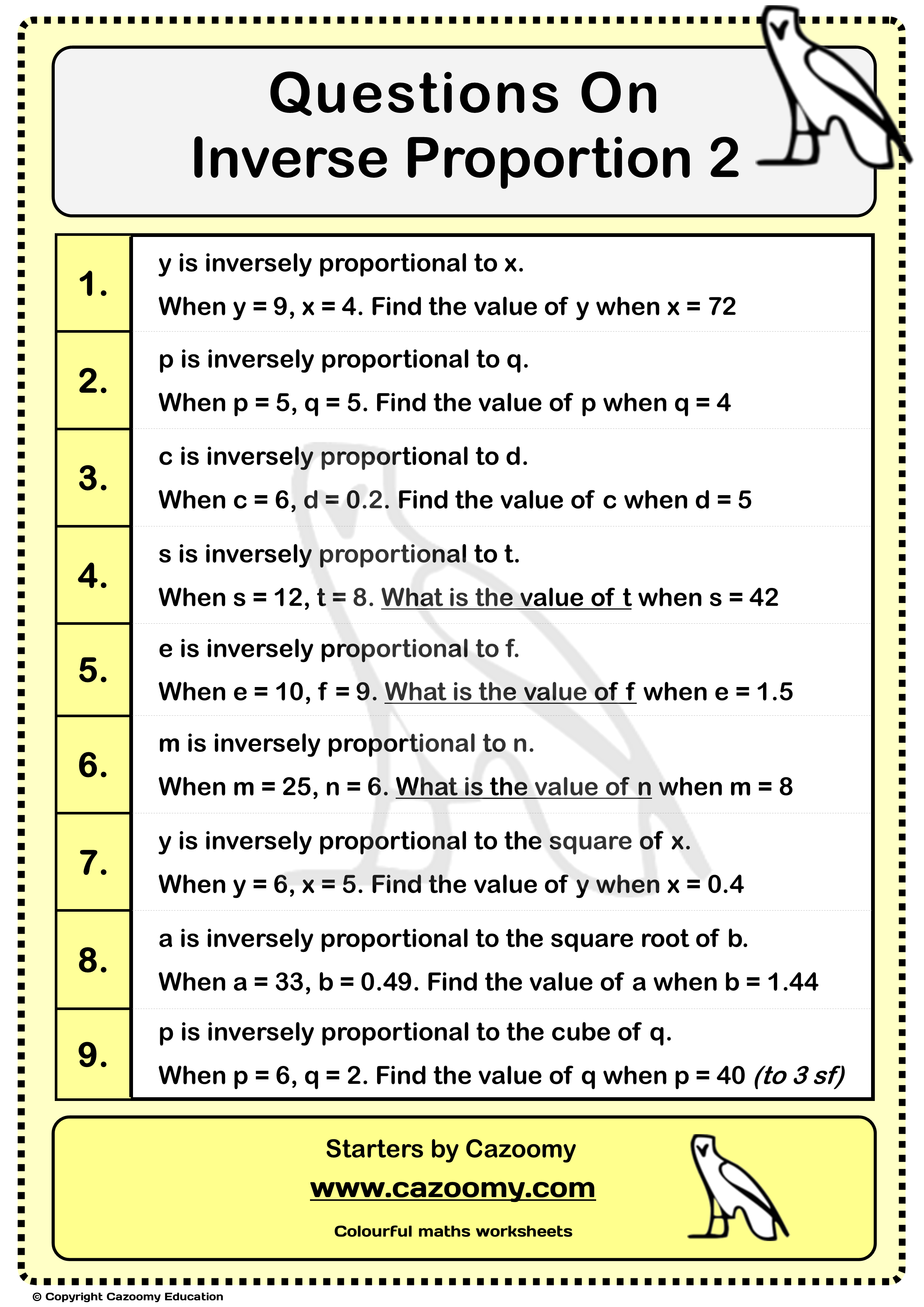 9 Questions On Inverse Proportionality In