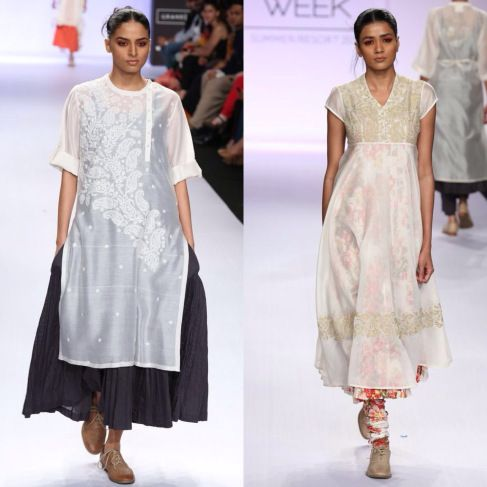 Pratima Pandey white silk overshirt, embroidered, three quarter sleeves, side splits and full skirt. embroidered sheer  off white embroidered overshirt over floral dress and trousers.