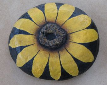 Sunflower - Hand Painted Rock