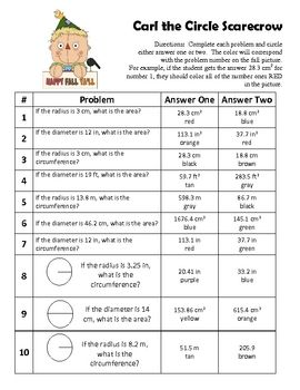 Autumn Area Circumference Of Circles Coloring Activity With