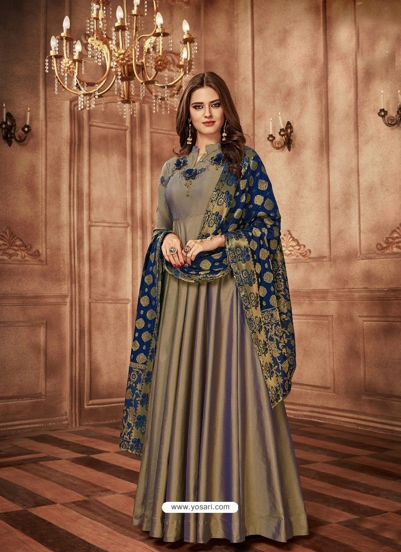 3e930bcac7 Grey Tapeta Jacquard Worked Designer Gown Style Suit