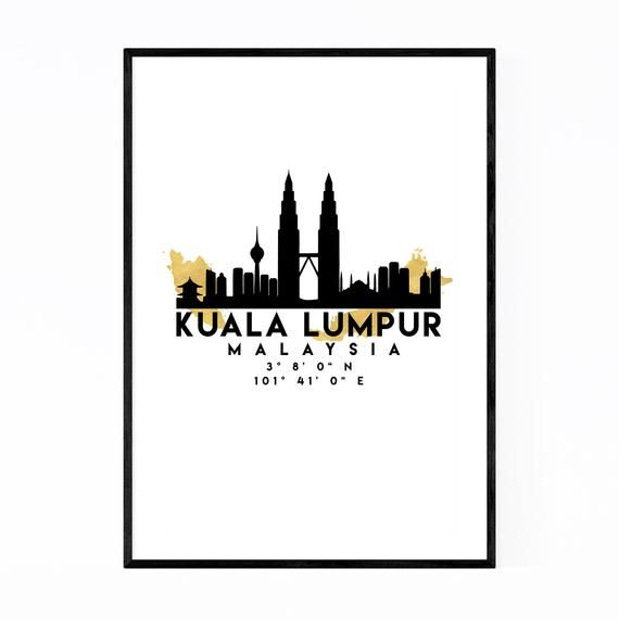 Kuala Lumpur Malaysia Coordinates Black /& White Travel Quote Poster Print