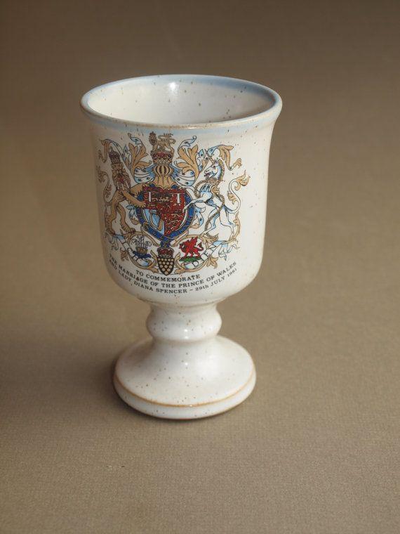 Royal Wedding Memorabilia Prince Charles Lady Diana English Stoneware Goblet 1981 Grayshott Pottery Collectible Commemorative Vintage Cup