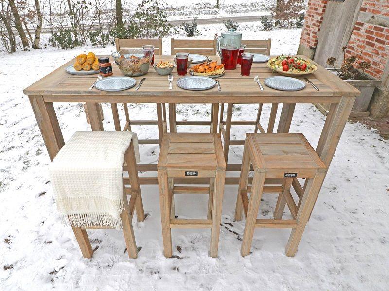 Wintergrillen Auch Den Winter Kann Man Im Garten Geniessen Auf Dem Barset Aus Teakholz Von Rough Gartenmobel Sets Gartenmobel Gartenbar Set