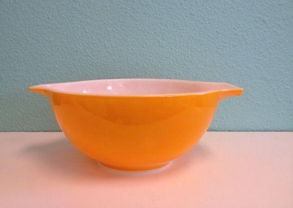 Vintage Pyrex Mixing Bowl - Orange Daisy Cinderella #442 1 1/2 1.5 ...