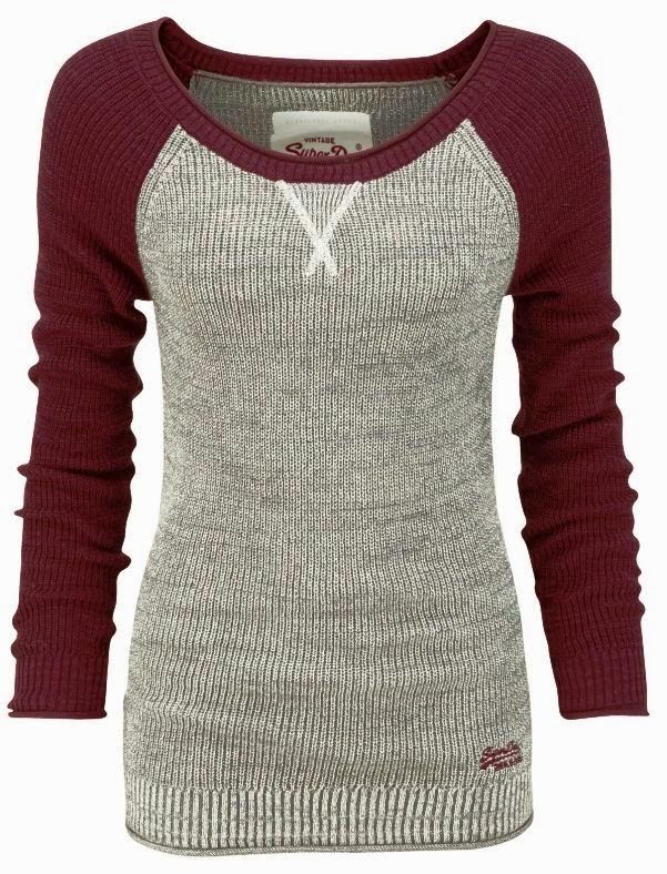 Neuer Damen Superdry Ryder Cable Strickpulli Burgundy