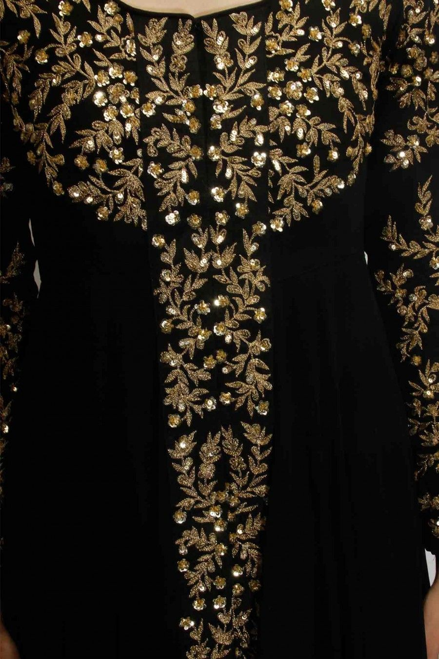 Black embellished long jacket with black inner gown available only