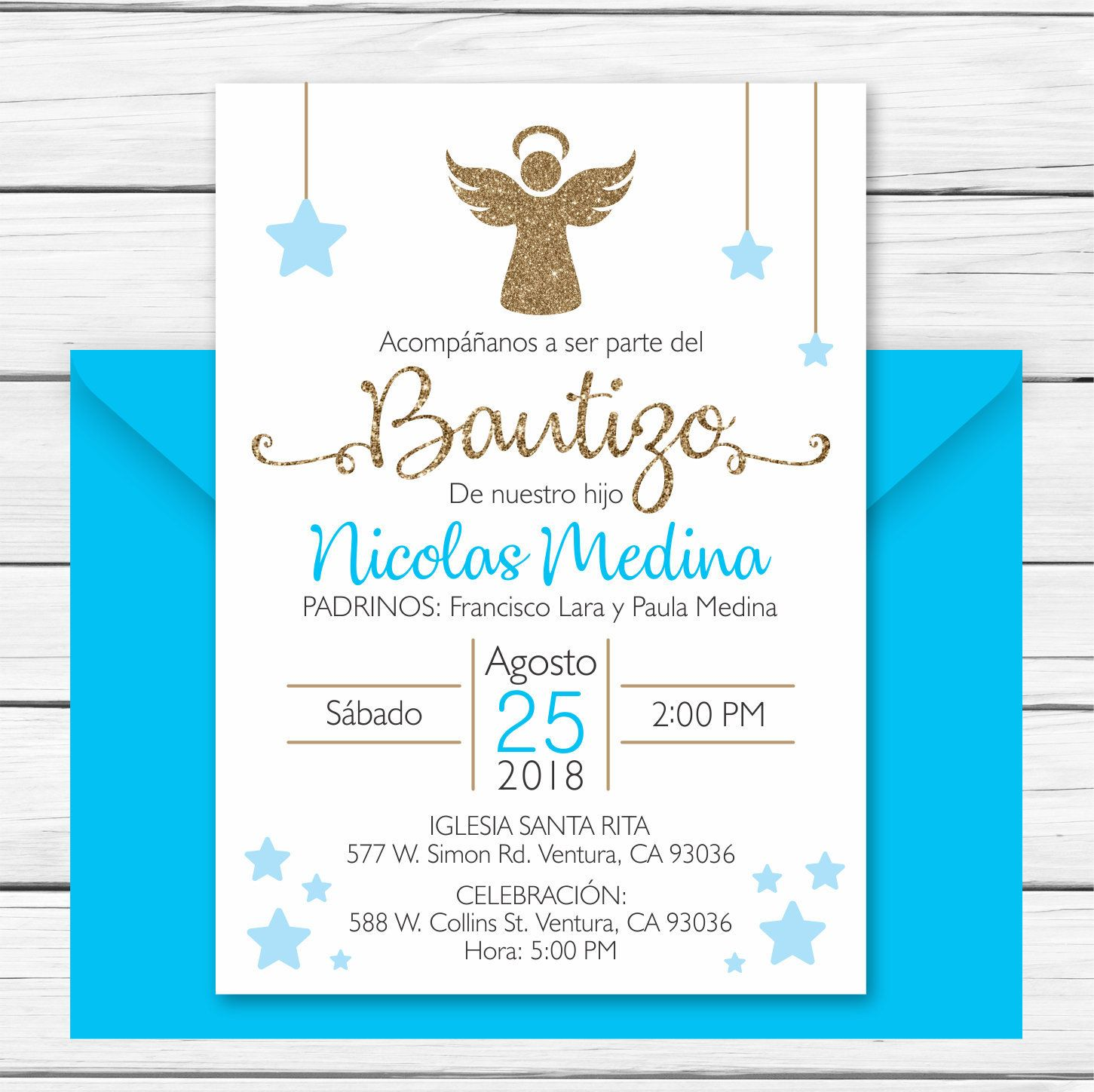 Baptism Invitation In Spanish Printable Boy Invitacion