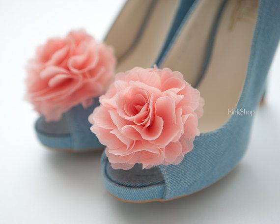 Light Coral pink Ruffle Chiffon Flower shoe clips