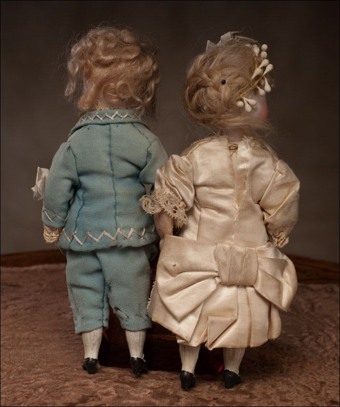 2 куклы: Жених и Невеста, Франция, 1880г - на сайте антикварных кукол.