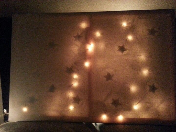 Easy DIY Christmas lights board project Spray paint the stars on