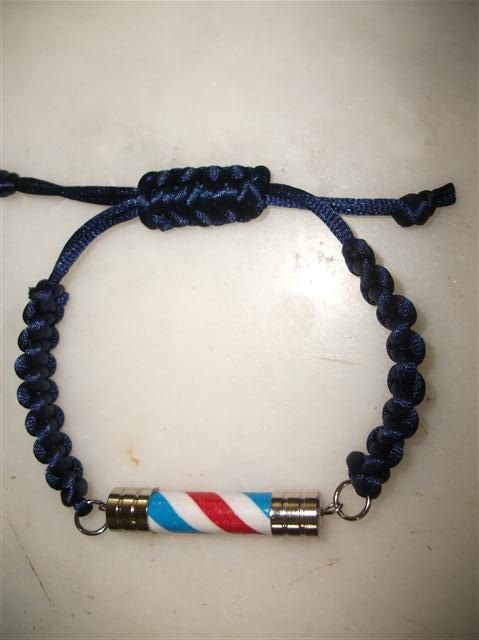 Dark Blue Thick Type Barber Pole Necklace by neduk on Etsy