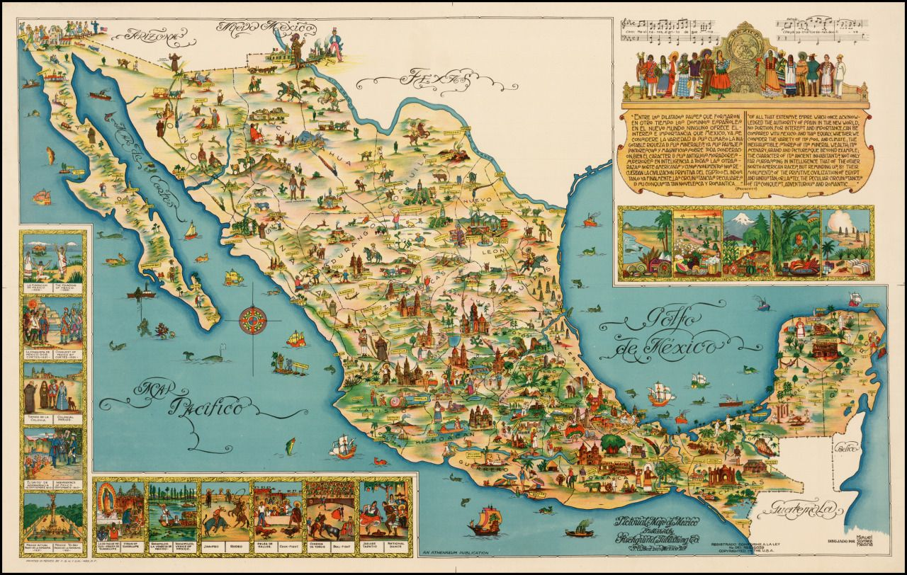 a pictorial map of mexico from 1950