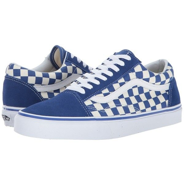 a2c7444ba61 Vans Old Skooltm ((Primary Check) True Blue White) Skate Shoes ( 60) ❤  liked on Polyvore featuring shoes