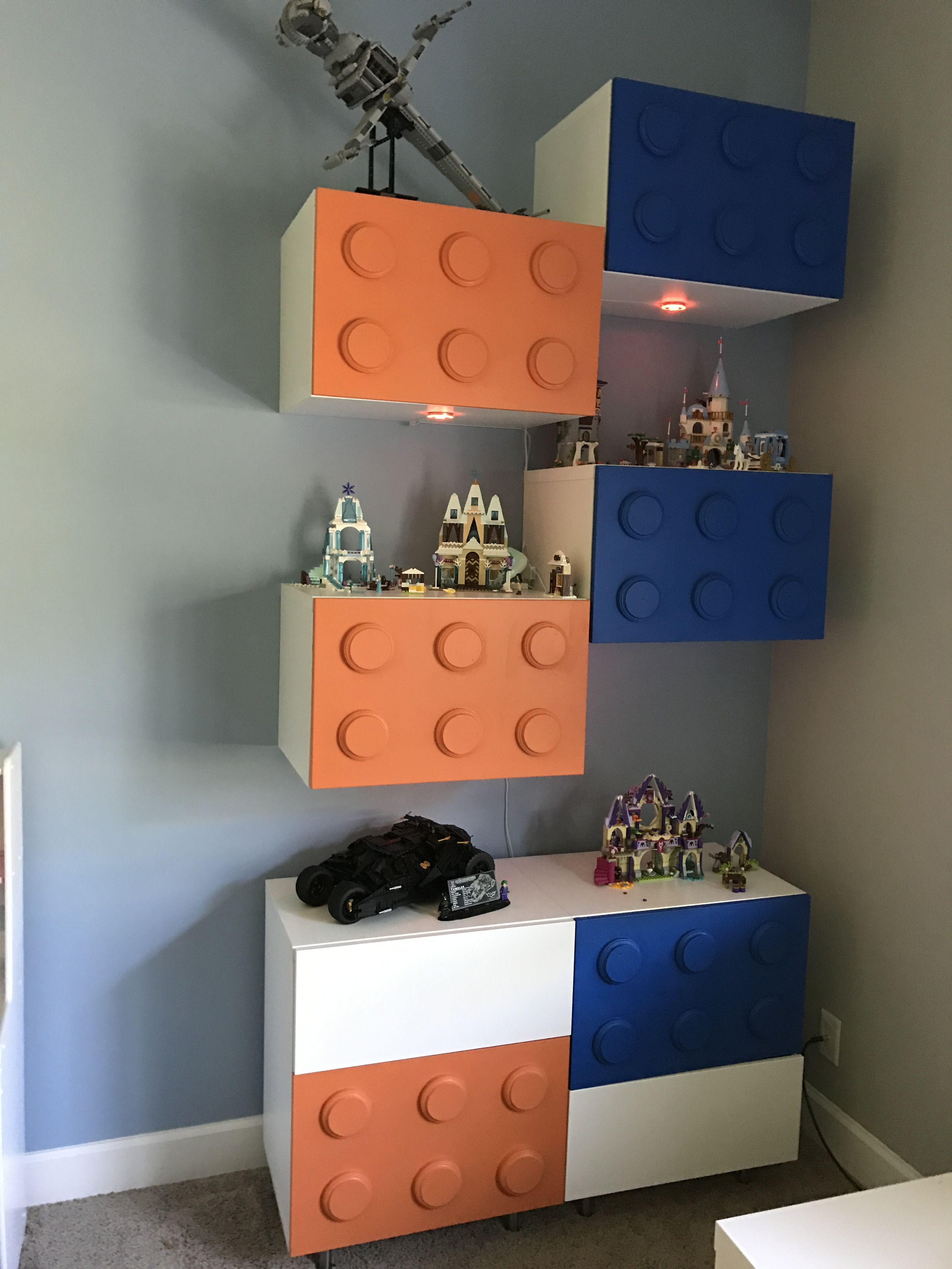 Lego Bedroom Decorating Ideas: Lego Wall From Besta Shelves, Diode Lights, And Captiva