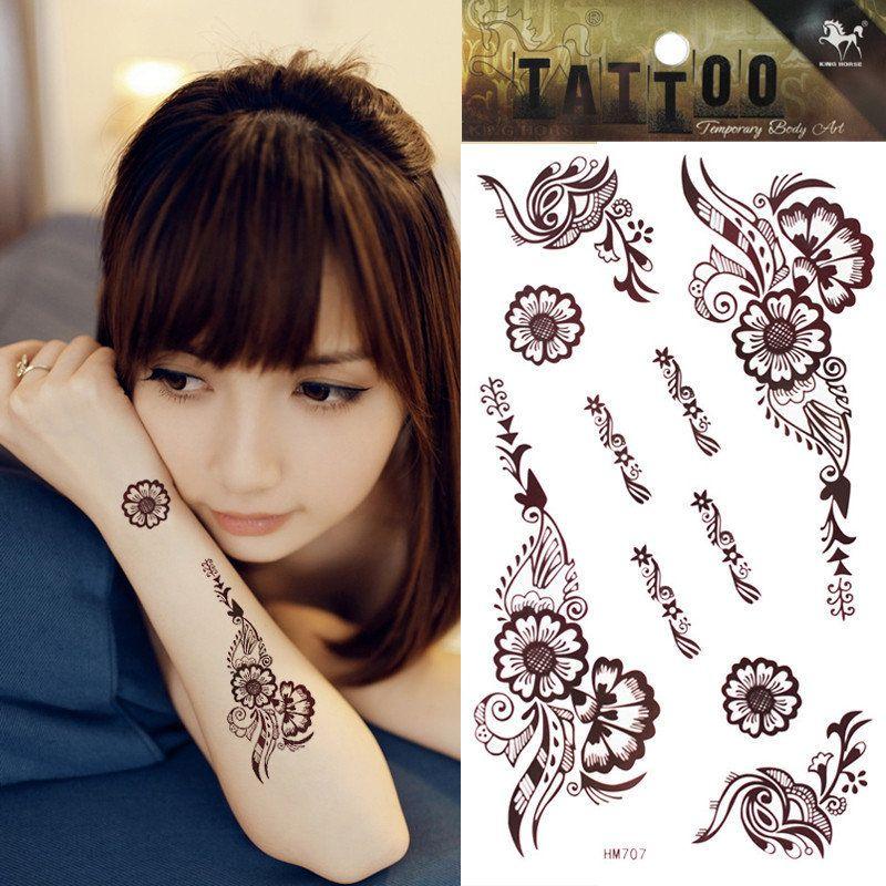 1pcs brown henna tattoo temporary flower tattoo body art