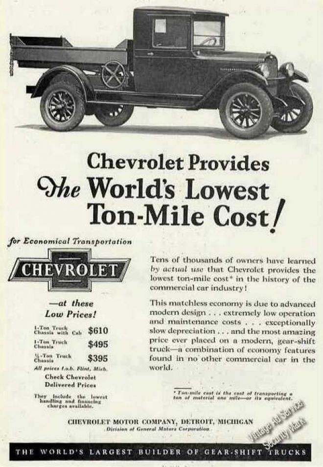 Chevrolet Truck Photo Lowest Ton-mile Cost (1927) | Ad-Truck/Van ...