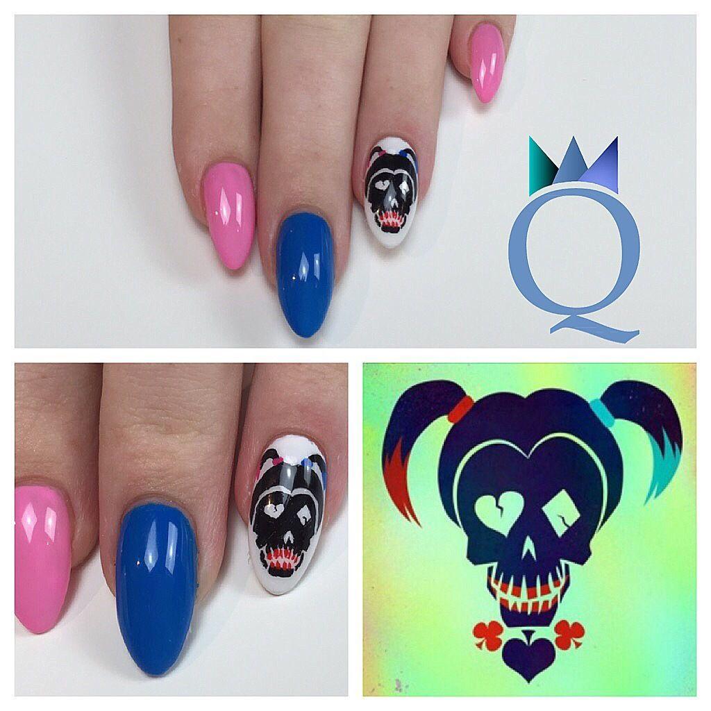 almondnails #nails #gelnails #handpainted #nailart #suicidsquad ...