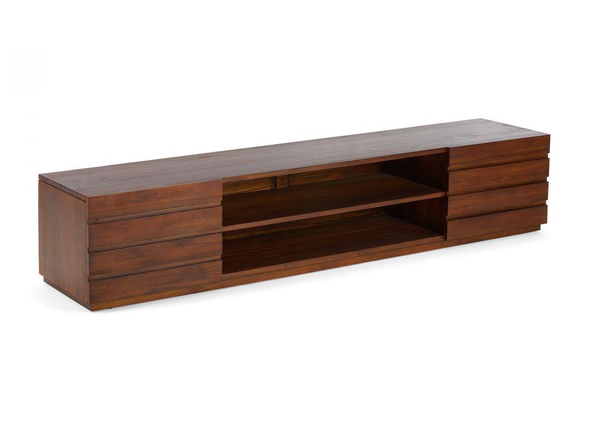 meuble tv bois teck colonial 198x45cm 2