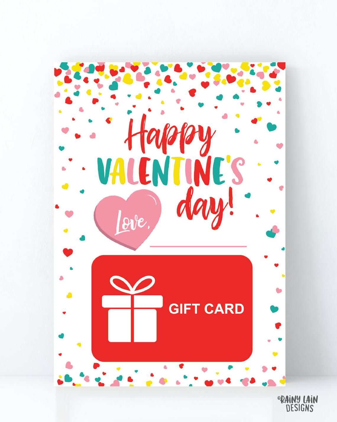 Valentine S Day Gift Card Holder Teacher Printable Etsy In 2021 Printable Gift Cards Gift Card Holder Happy Valentines Day