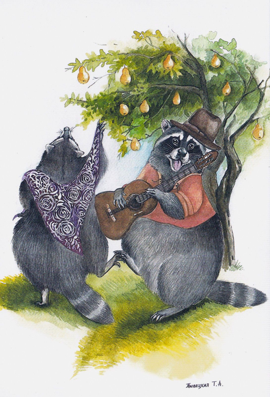VERY RARE Raccoons Country dance by Plovetskaya Russian modern postcard | eBay