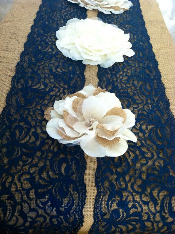 NAVY BLUE Lace/Table Runner/Weddings/ Decor Navy Lace, Navy Blue Lace