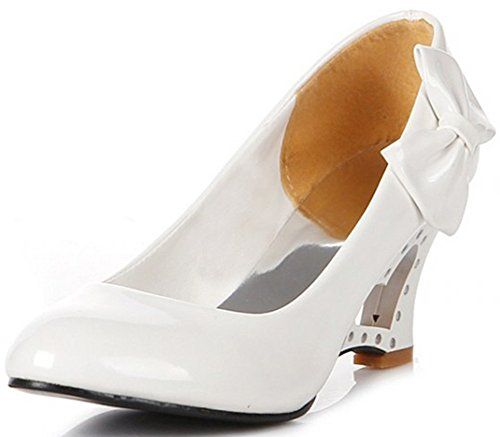 Women's Elegant Bowknot Round Toe Wide Work Shoes Heart Cut-out Wedge Heel Pumps