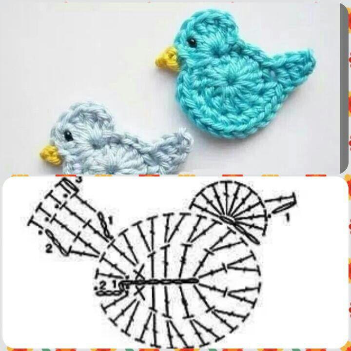Aplique pajarito | Patrones | Pinterest | Croché, Ganchillo y ...