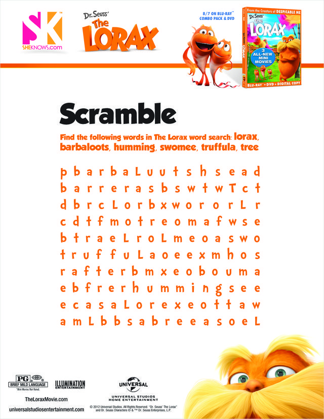 The Lorax word search | The Lorax | Pinterest