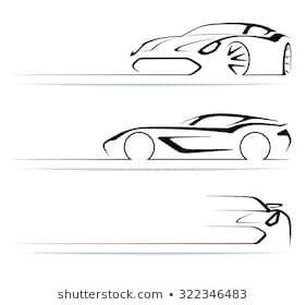 Set Abstract Monochrome Linear Sports Car Stock Illustration 322346483