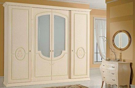 Ante con vetro satinato e decorazioni sul legno (com ...