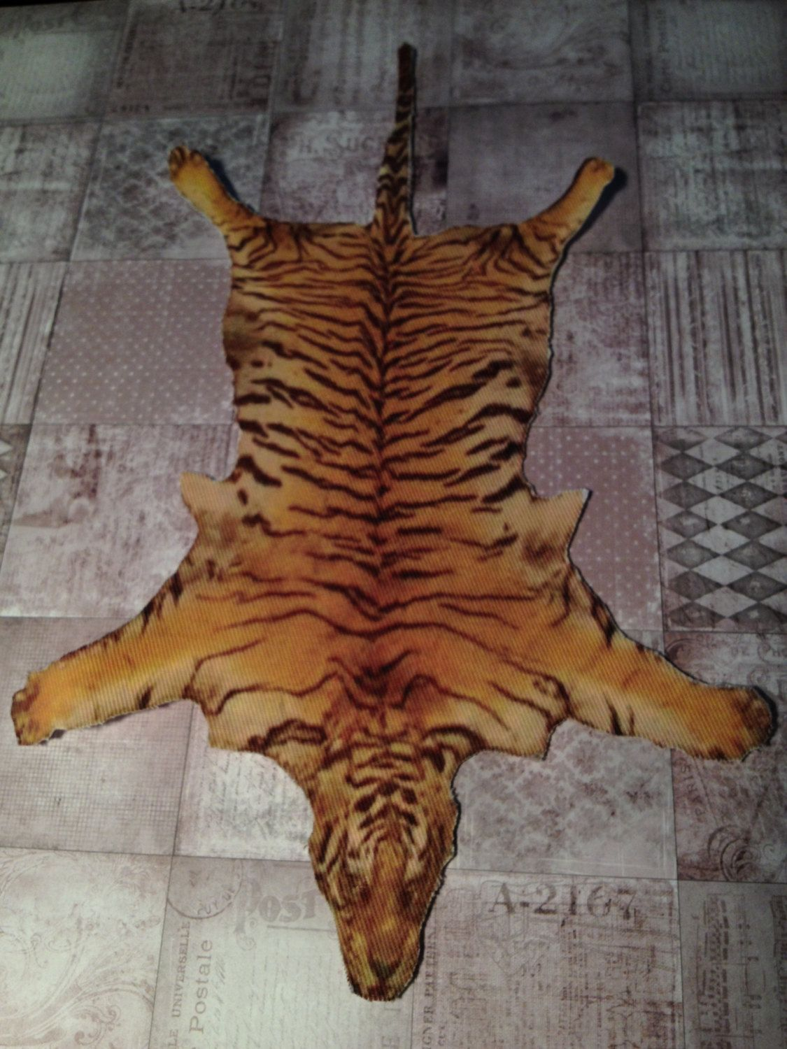 Dollhouse Miniature Bengal Tiger Skin Rug One Inch Scale