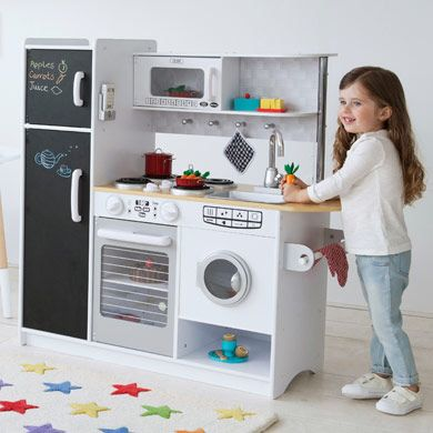 Modern Wooden Play Kitchen our customers asked for an all-white wooden play kitchen which