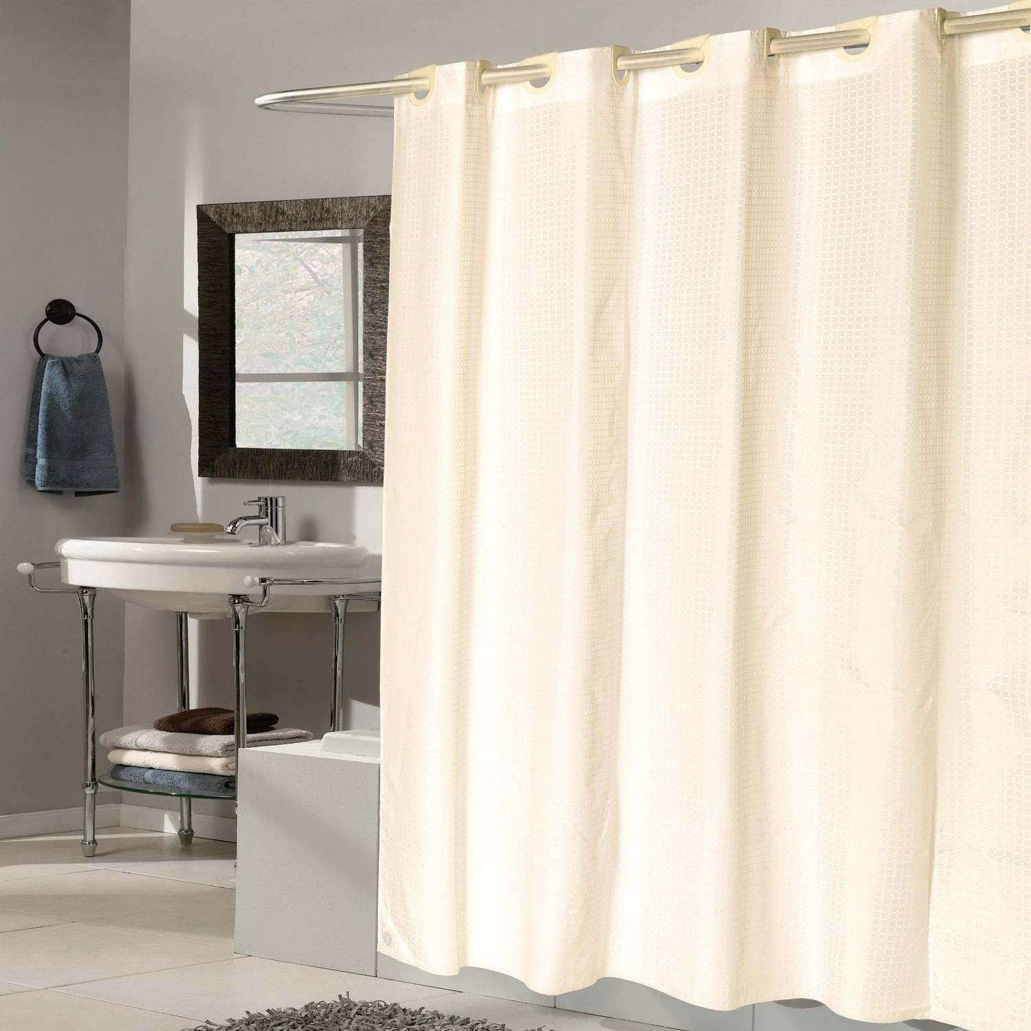 Ez On Check Fabric With Built In Hooks Ivory Shower Curtain Ivory