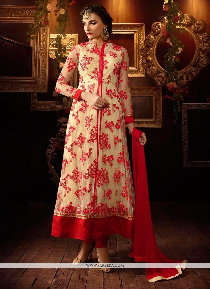 Designer salwar kameez mesmeric peach color net designer suit - Add A Adolescent Burst Of Color Inside Your Wardrobe With This Red Net Anarkali Salwar Kameez Designer Salwar Suitsdesigner
