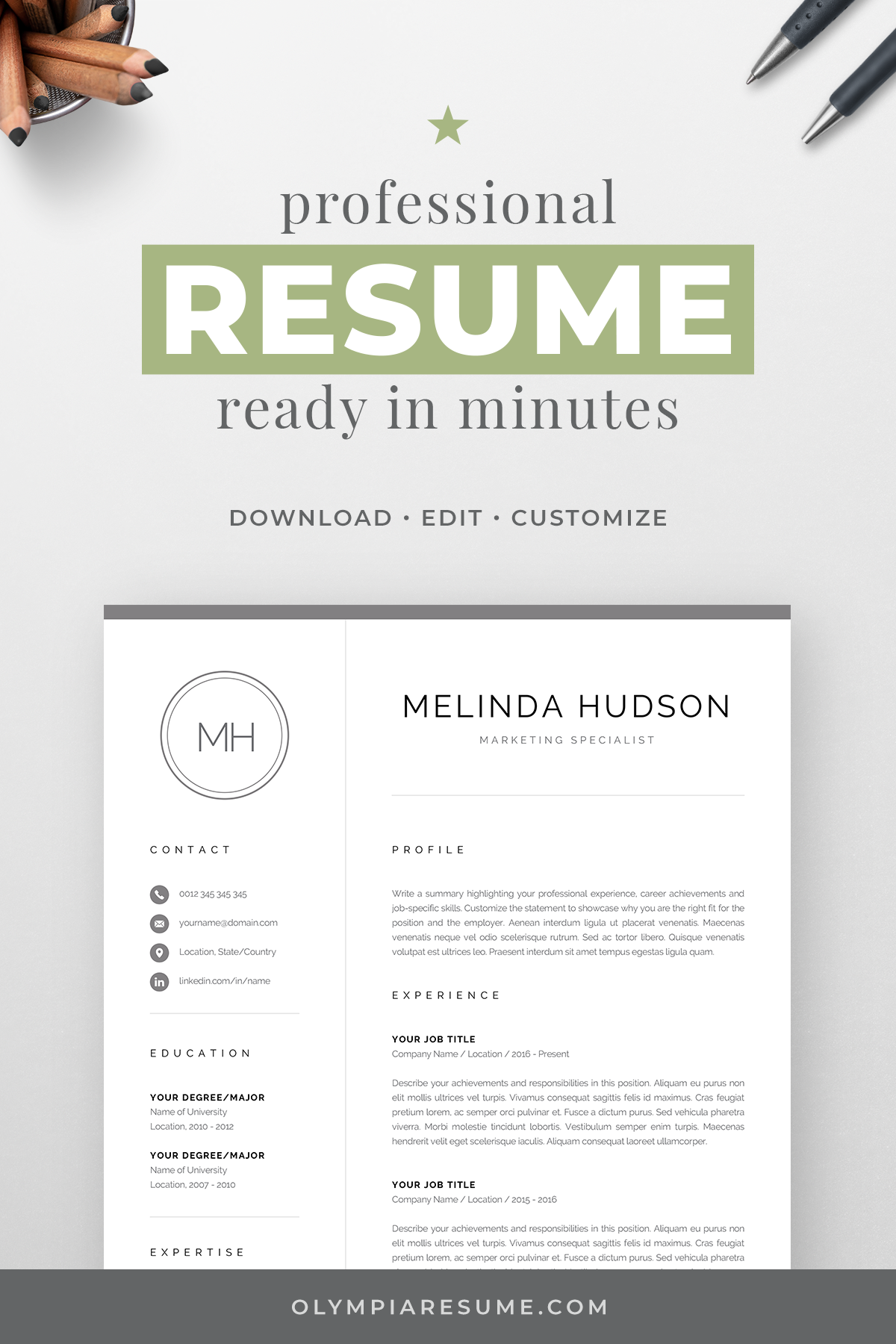 Modern Resume Template Cv Design With Initials Creative Etsy Modern Resume Template Resume Template Professional Resume Template